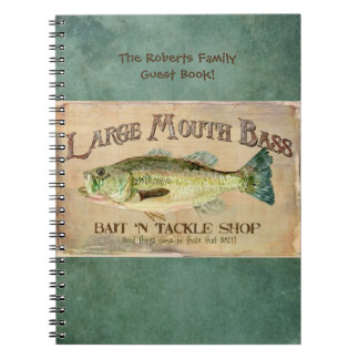 Large Mouth Bass Fishing Lake Cabin Decor Blue Spiral Notebook