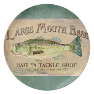 Large Mouth Bass Fishing Lake Cabin Decor Blue Party Plates
