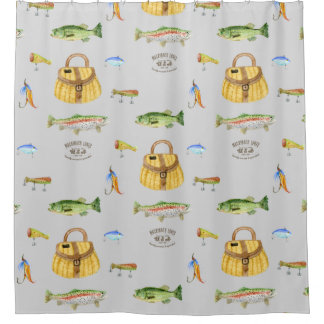 Large Mouth Bass Trout Fish Vintage Fishing Cabin Shower Curtain