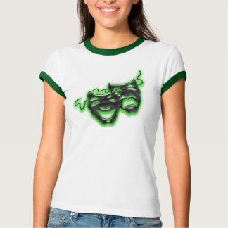 Large Neon Green Masks Ladies Ringer T T-Shirt