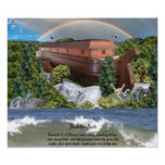 Large Noahs Ark Diorama Gloss Canvas Picture Poster