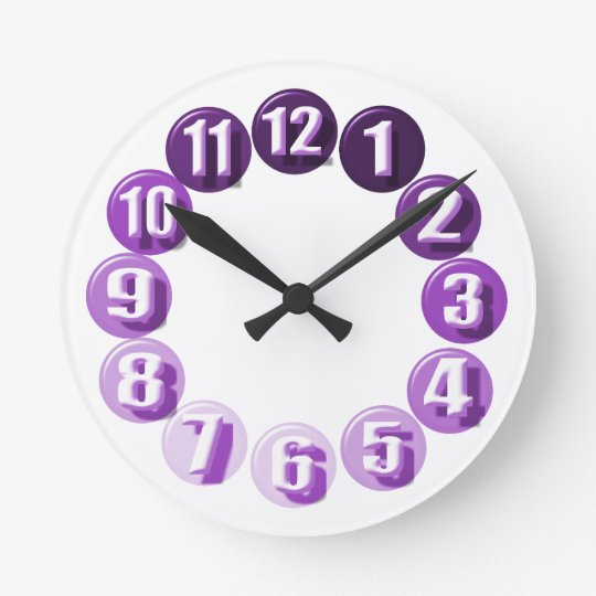 Large Numbers/ Purple Round Clock