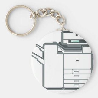 Large office printer basic round button key ring