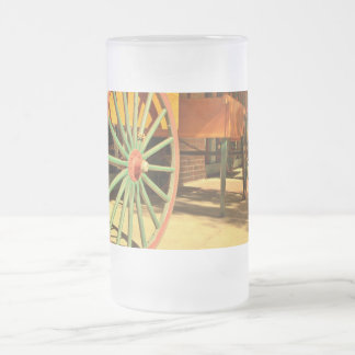 Large Old Fashioned Wagon Wheels Frosted Glass Beer Mug