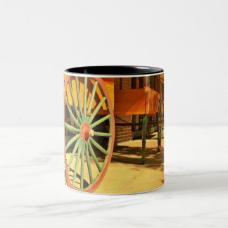Large Old Fashioned Wagon Wheels Two-Tone Coffee Mug