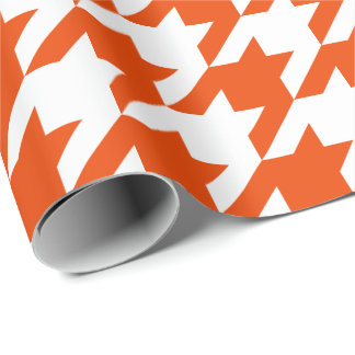 Large Orange and White Houndstooth Wrapping Paper