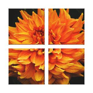 Large Orange Dahlia Gallery Wrapped Canvas