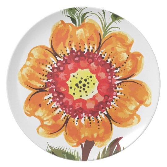 Large Orange Flower Plate