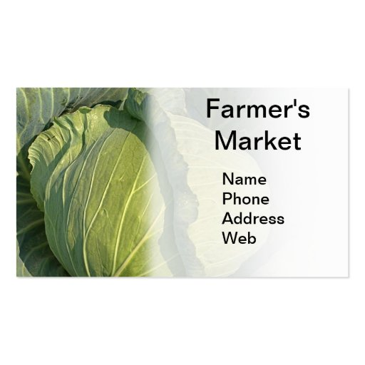 Large Organic Green Cabbage Business Card Templates