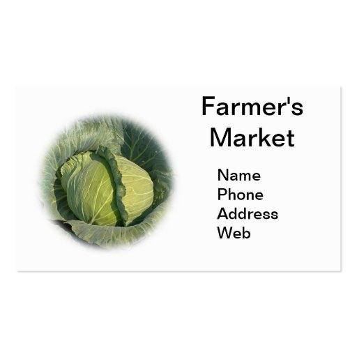 Large Organic Green Cabbage Business Card Template