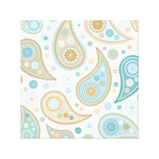 Large Paisley Funky Print (Light Blue Background) Canvas Prints