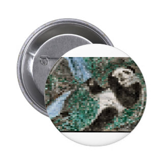 Large Panda Pla y Blurred Mosaic 6 Cm Round Badge