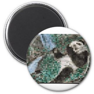 Large Panda Pla y Blurred Mosaic 6 Cm Round Magnet
