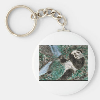 Large Panda Pla y Blurred Mosaic Basic Round Button Key Ring