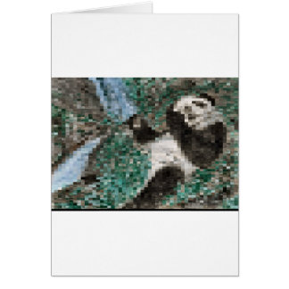 Large Panda Pla y Blurred Mosaic Greeting Card