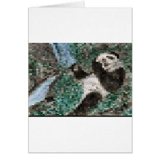 Large Panda Pla y Blurred Mosaic Greeting Card