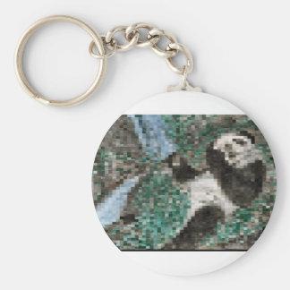 Large Panda Pla y Blurred Mosaic Basic Round Button Key Ring