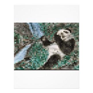 Large Panda Pla y Blurred Mosaic Personalised Letterhead