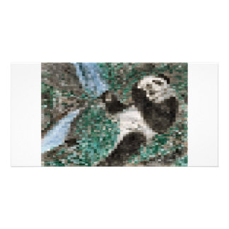 Large Panda Pla y Blurred Mosaic Picture Card
