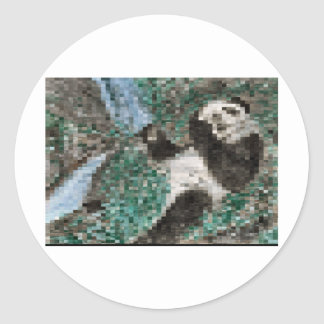 Large Panda Pla y Blurred Mosaic Round Sticker