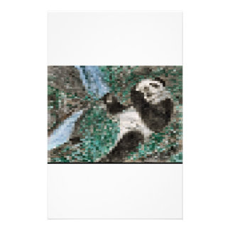 Large Panda Pla y Blurred Mosaic Stationery Paper