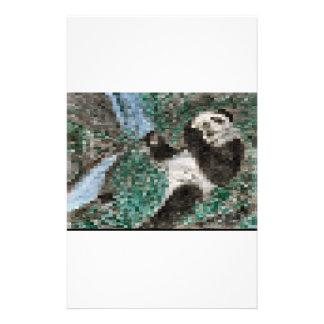 Large Panda Pla y Blurred Mosaic Stationery Paper
