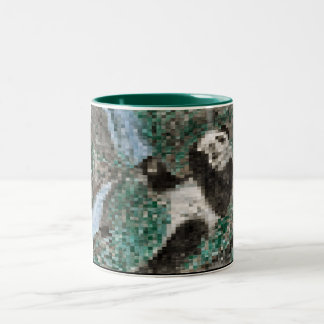 Large Panda Pla y Blurred Mosaic Two-Tone Mug