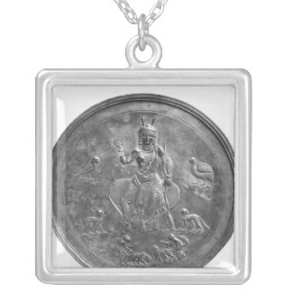 Large patera depicting a goddess silver plated necklace