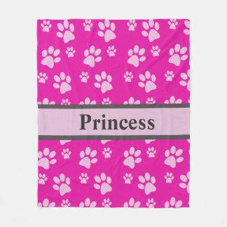 Large Paw Print Pink Blanket Custom Dog Name