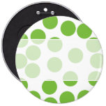 Large Pea Green Dots on White. Buttons