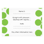Large Pea Green Dots on White. Personalised Invitations