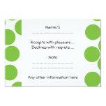 Large Pea Green Dots on White. 9 Cm X 13 Cm Invitation Card
