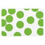 Large Pea Green Dots on White. Magnets
