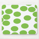 Large Pea Green Dots on White. Mousemats