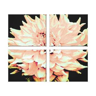 Large Peach Blush Dahlia Stretched Canvas Print