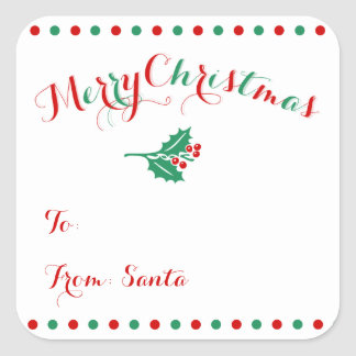 Large Personalized Square Christmas Gift Tags