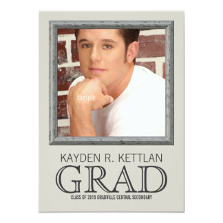 Large Photo GRAD with Name School and Year 11 Cm X 16 Cm Invitation Card