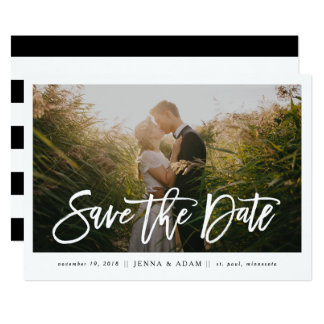 Large Photo Horizontal Calligraphy Save the Date Card