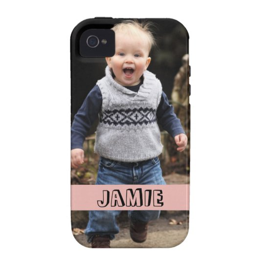 Large photo personalise your own pink band Case-Mate iPhone 4 case