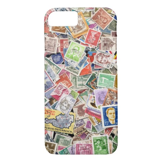 Large pile of postage stamps iPhone 8/7 case