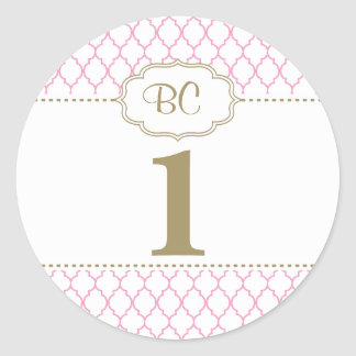 Large Pink and Gold First Birthday Sticker