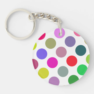 Large Pink And Purple Dots Keychain
