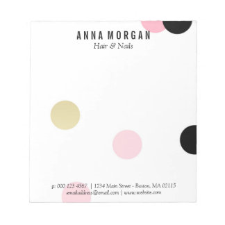 Large Pink & Black Confetti Custom Name Notepads