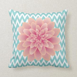 Large Pink Chrysanthemum and Turquoise Chevron Throw Cushion
