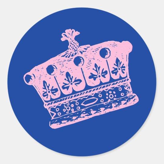 Large Pink Crown or Tiara Classic Round Sticker