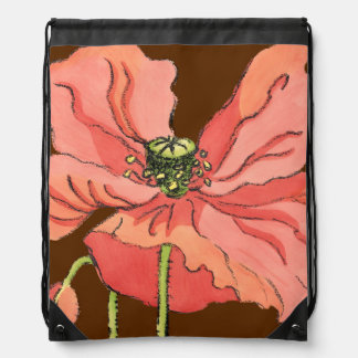 Large Pink Flower with Deep Red Background Drawstring Bag