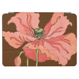 Large Pink Flower with Deep Red Background iPad Air Cover