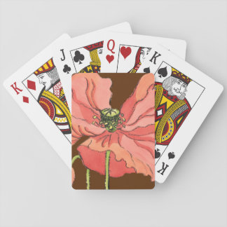 Large Pink Flower with Deep Red Background Playing Cards