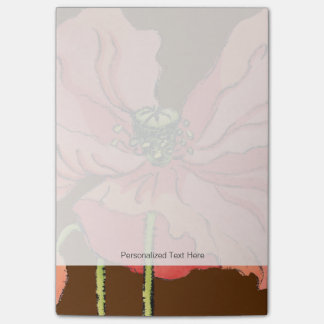 Large Pink Flower with Deep Red Background Post-it Notes