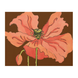 Large Pink Flower with Deep Red Background Wood Print